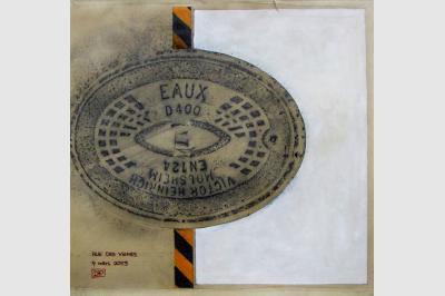 Bouche à clef - Empreintes sur papier Ingre (48 x 48 cm)