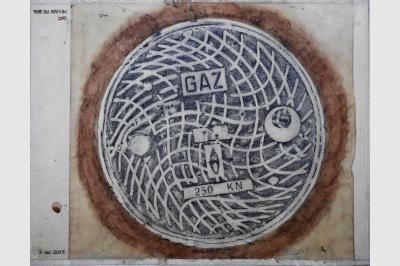 Bouche à clef - Empreintes sur papier Ingre (47.5 x 63.5 cm)