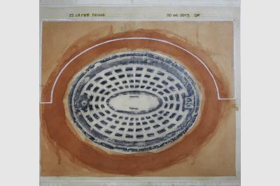 Bouche à clef - Empreintes sur papier Ingre (48.5 x 52 cm)