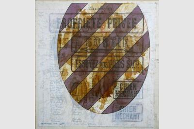 Graphisme & empreintes sur feuillet livre de compte (43.5 x 41 cm)