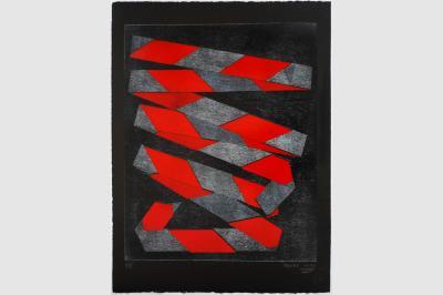 RUBALISE III - Gravure sur contreplaqué en épargne perdue -  Papier  BFK Rive teinté en noir - 65x50 cm - Janvier 2021