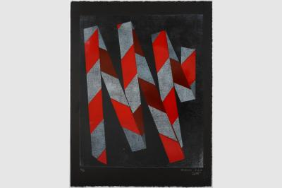 RUBALISE II - Gravure sur contreplaqué en épargne perdue -  Papier  BFK Rive teinté en noir - 65x50 cm - Février 2021