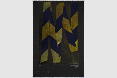 RUBALISE I - Gravure sur contreplaqué en épargne perdue -  Papier  BFK Rive teinté en noir - 56.5x38 cm - Décembre 2020