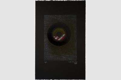 VINYLE 45 tours - Gravure sur contreplaqué en épargne perdue - Papier  BFK Rive teinté en noir - 56.5x35.5 cm - Septembre 2020